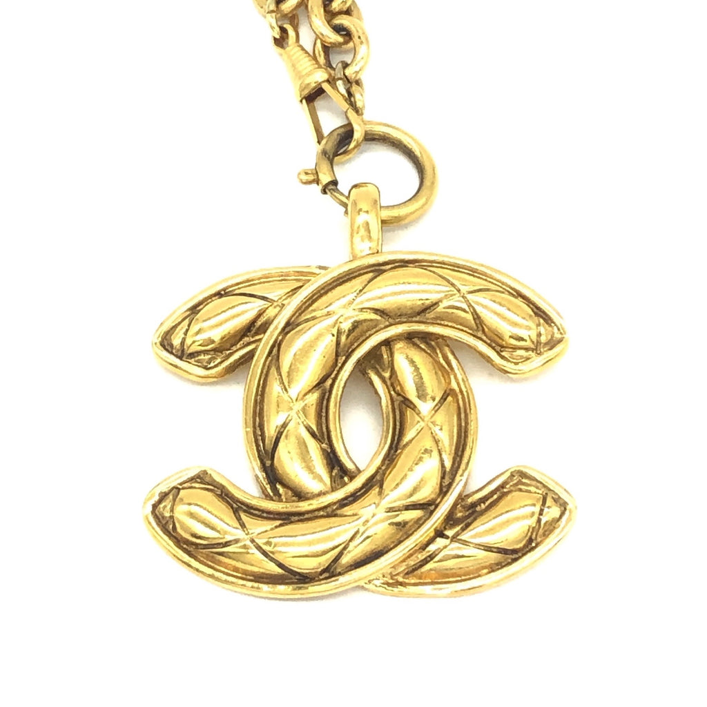 Vintage Chanel Necklace with Quilted CC Pendant