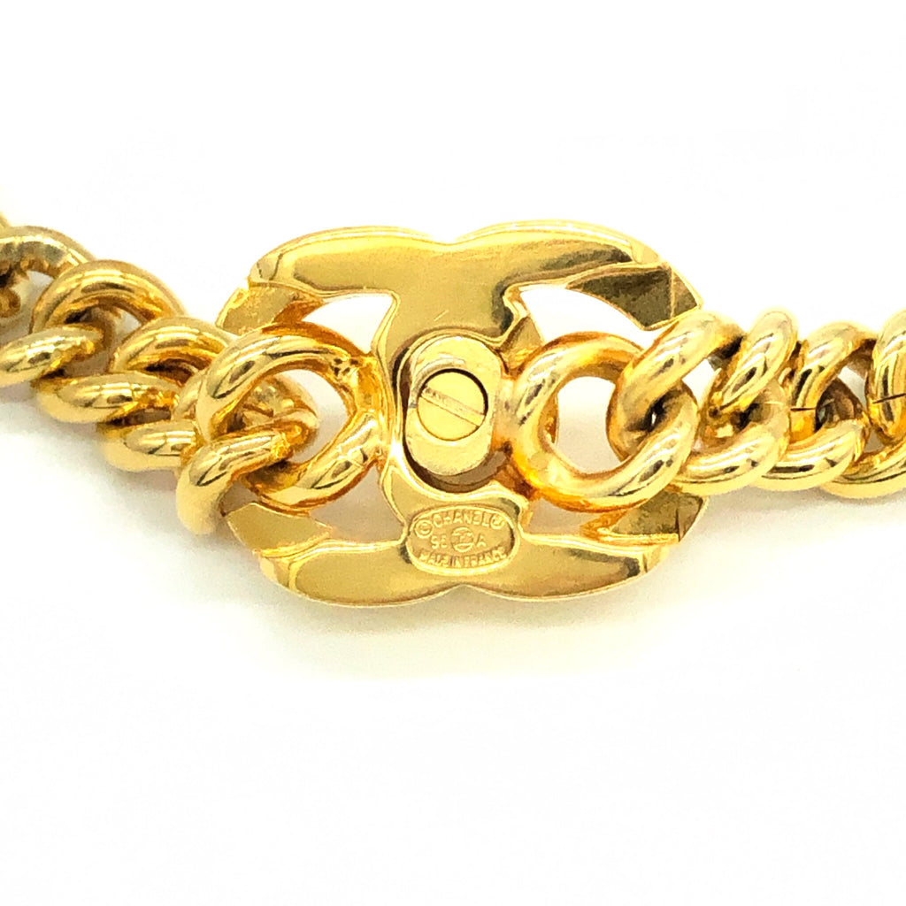 Chanel Goldtone Turnlock Necklace