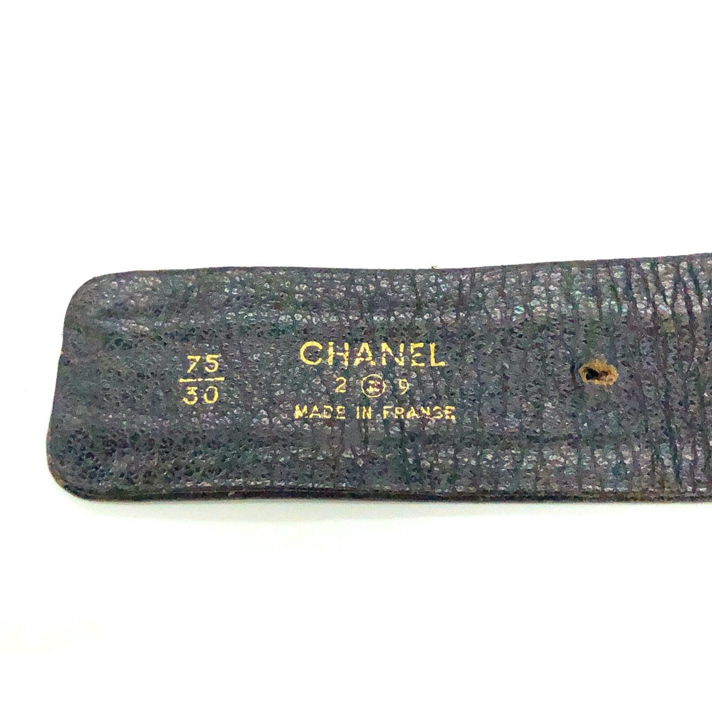 Chanel Black Leather Weave Belt with Buckle