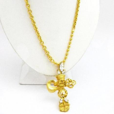 Christian Lacroix Crystal Cross Necklace