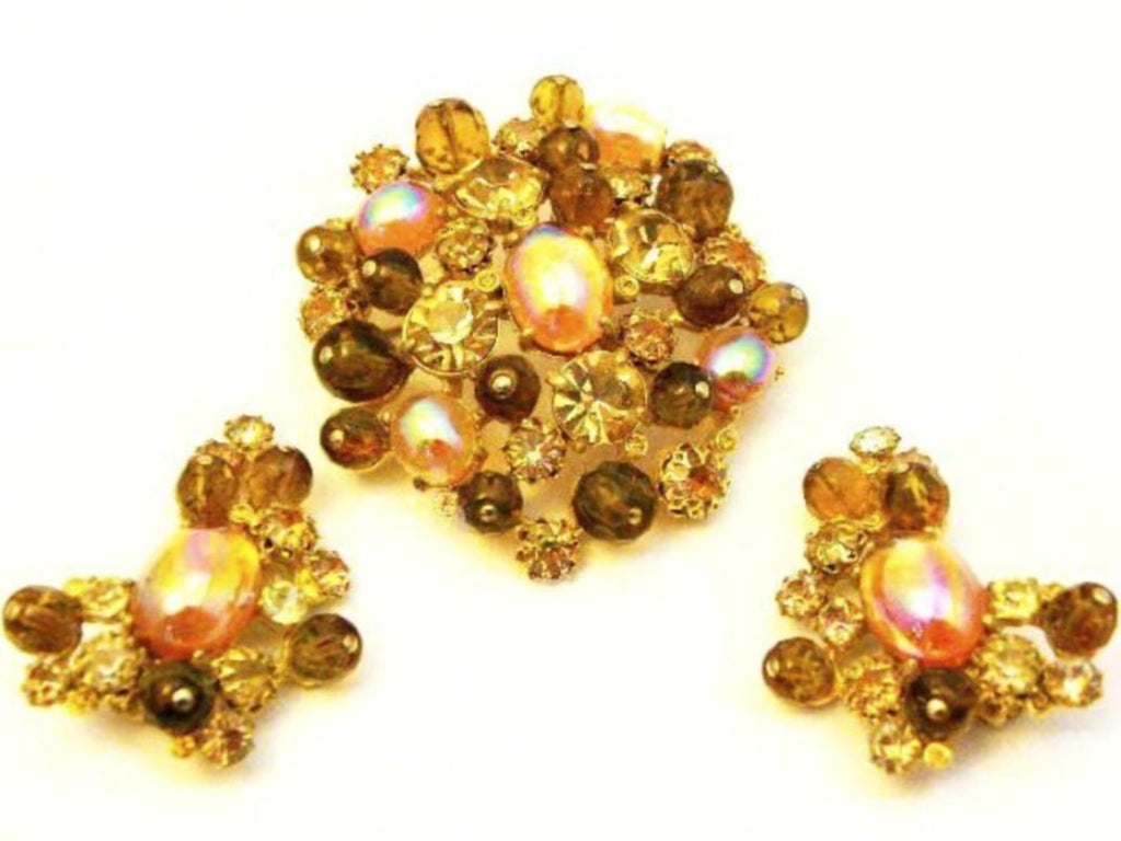 schiaparelli amber pin and earrings set