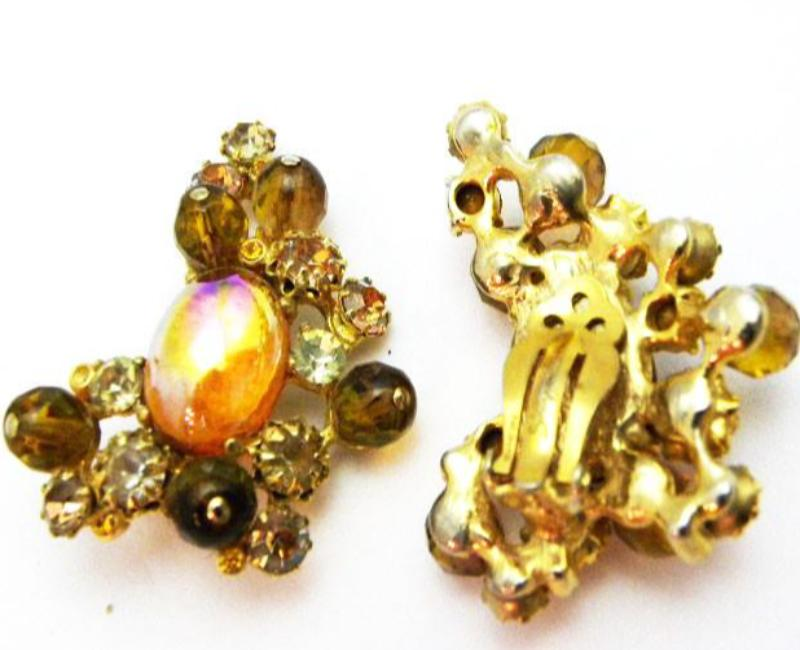 Schiaparelli Amber Pin and Earring Set