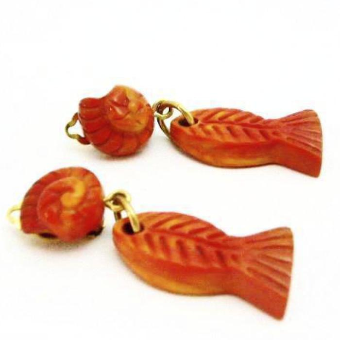 Vintage YSL Yves Saint Laurent orange fish earrings