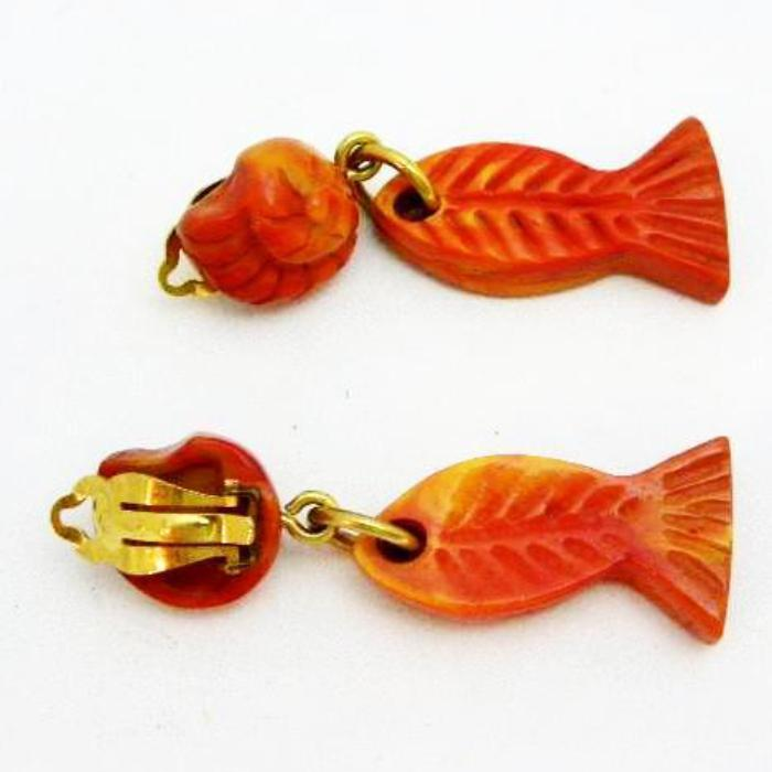 YSL Earrings  with Shell clip and Fish Charm