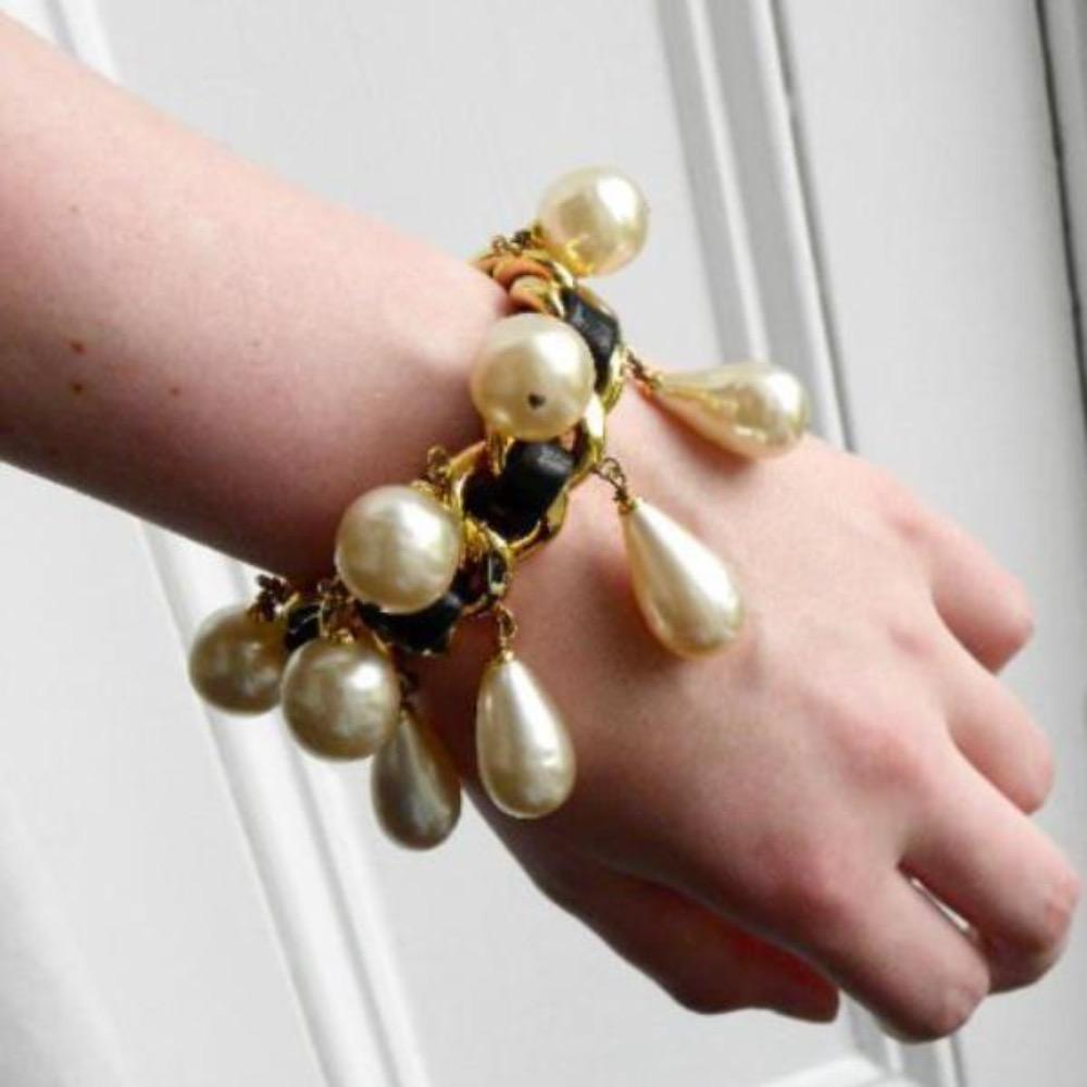vintage chanel leather weave and pearls cuff bracelet