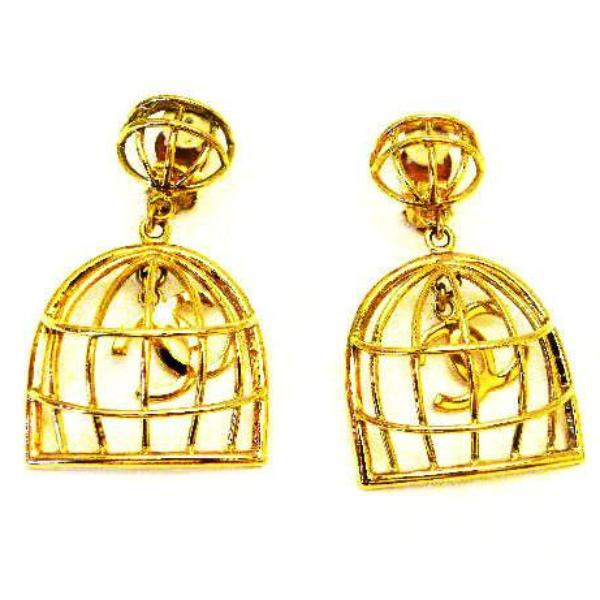 vintage chanel birdcage earrings