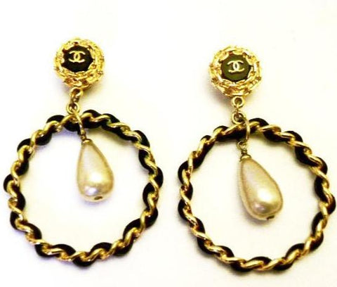 leather hoop earrings with pearl