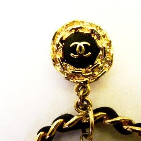 Rare Chanel Leather Weave Hoop Earrings