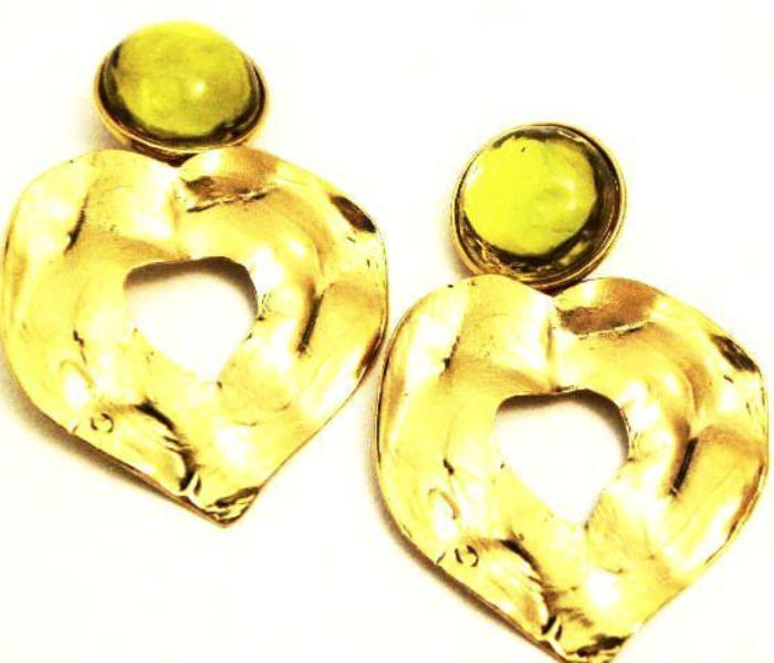 ysl yves saint laurent hammered heart earrings