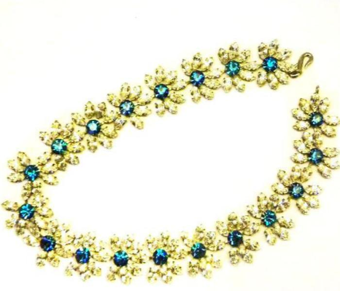 Vintage ysl  yves saint laurent blue/clear crystal flower necklace