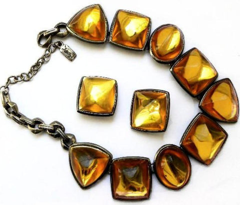 vintage YSL necklace set with amber stones
