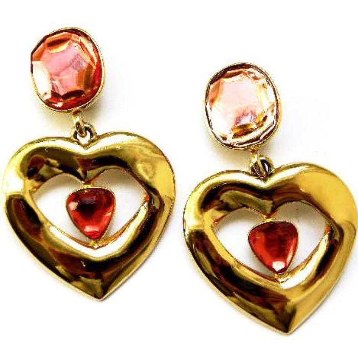 YSL yves saint laurent Pink heart earrings