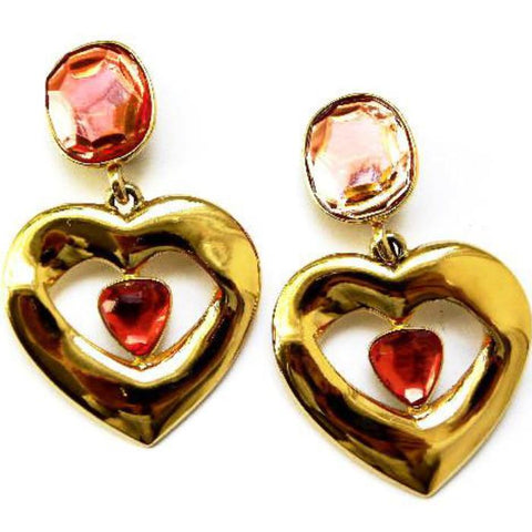 YSL Pink heart earrings