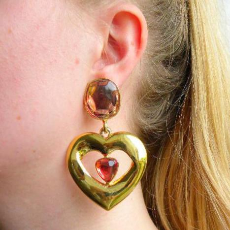 Yves Saint laurent Large Heart Earrings