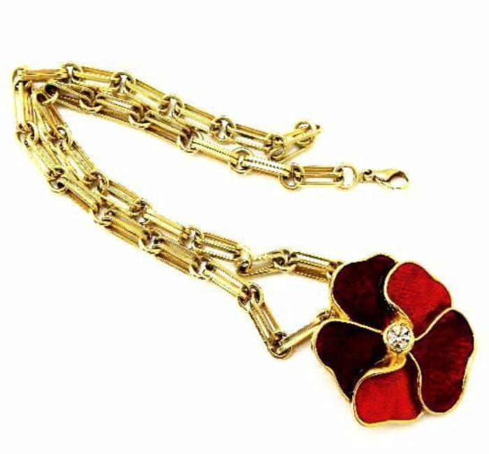 Vintage YSL necklace set with red flower motif