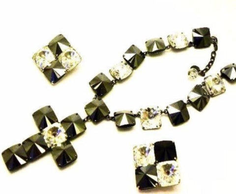vintage YSL necklace set in grey and clear crystals