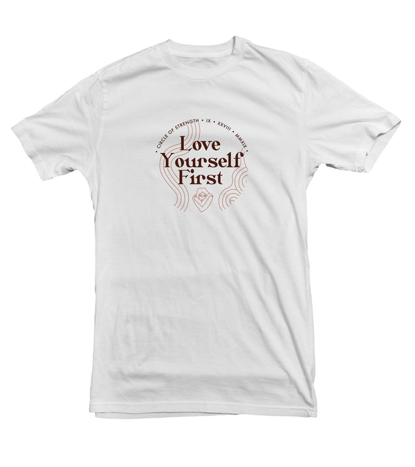 Love Yourself First Graphic Cotton Tee for Women - Circle of Strength Collection