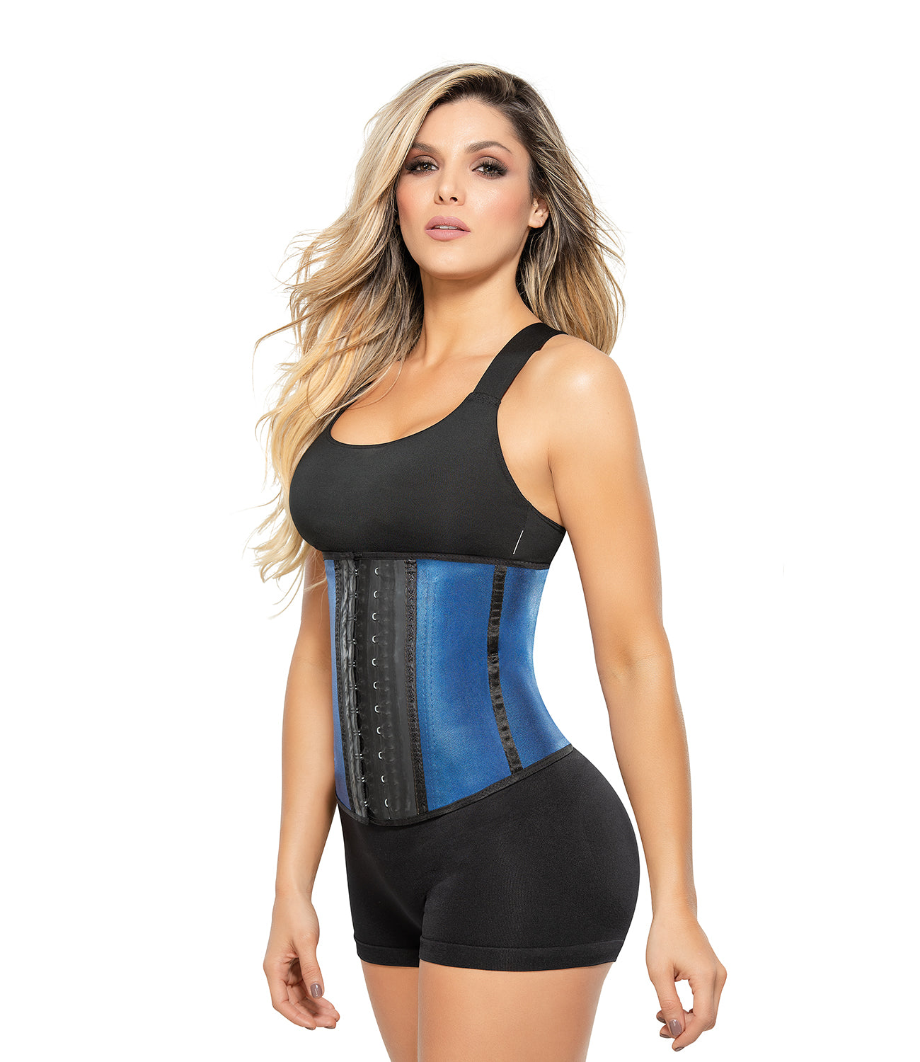 Ann Chery 2039 Metallic Edition Blue Workout Faja Deportiva Women Latex Waist Trainer