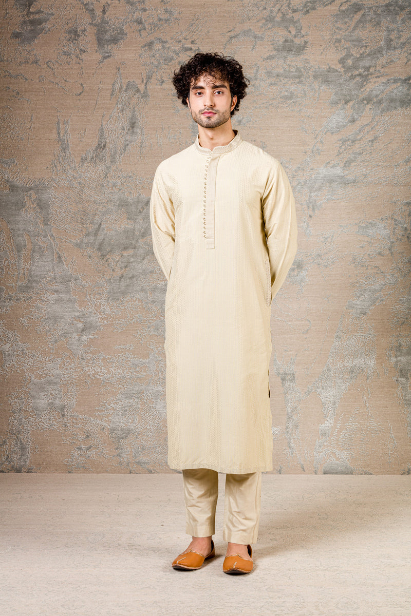 Pista Green Block Printed Kurta Set