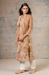 Dark Beige Cotton Silk Blend Hand Block Printed Kurta With Pants And Scarf