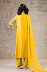 Yellow Straight Kurta with Block Printed Pallazo
