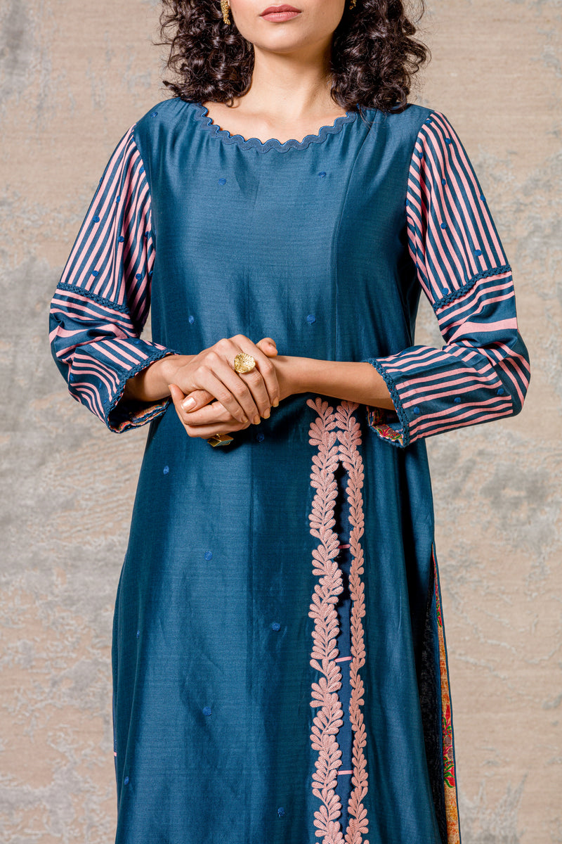 Midnight Blue Straight kurta with Block Printed Pallazo