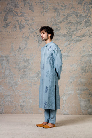 Ash Blue Diamond Pin Tuck Kurta Set