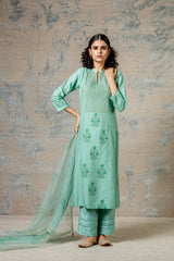 Green Pin Tuck Kurta Set