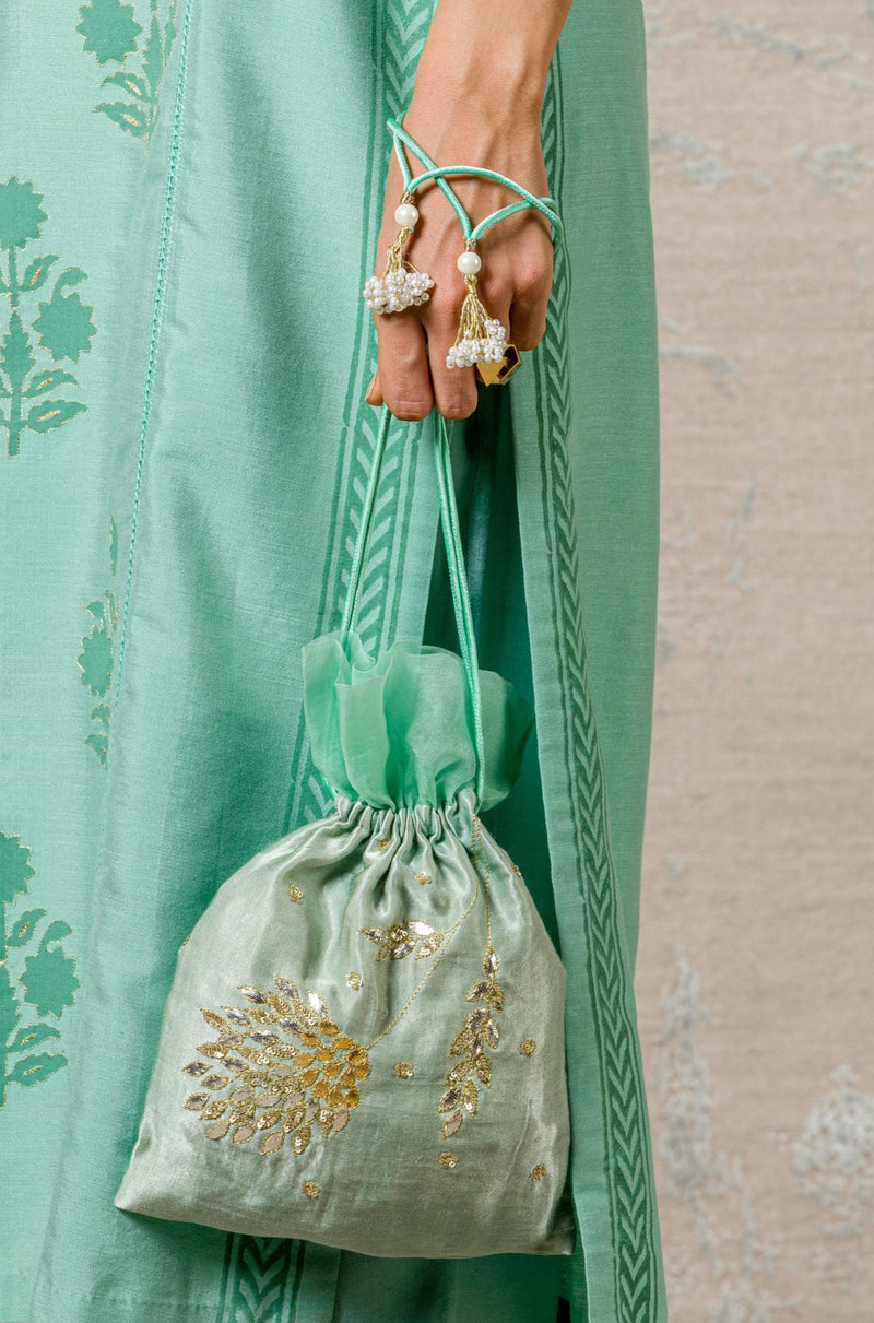 Sage Green Embroidered Potli Bag
