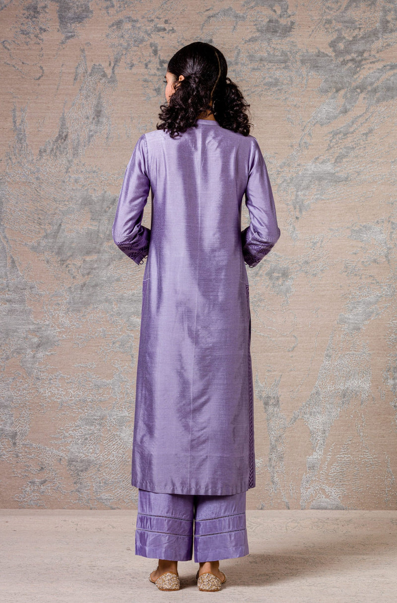 Lilac Cotton Silk Blend Pin Tuck Kurta Set
