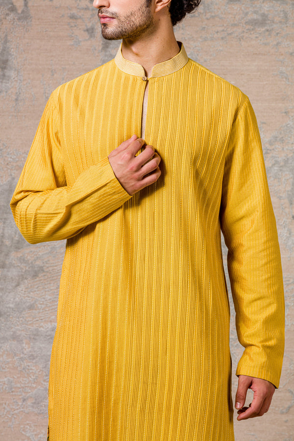 Mustard Pin Tuck  Kurta Set