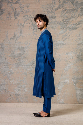 Blue Pin Tuck  Kurta Set