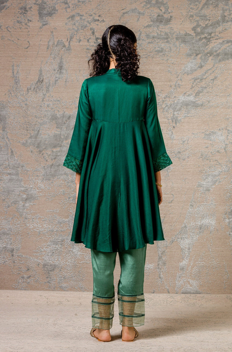 Emerald Green Cotton Silk Satin Set