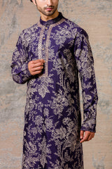 Navy Printed Kurta & Jacket Set