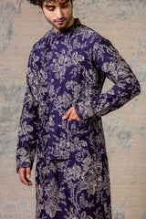 Navy Kurta & Jacket  Set