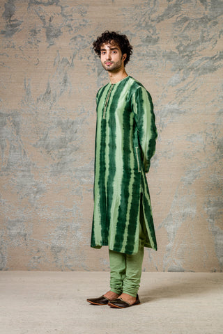 Green Tie and Dye Kurta Set