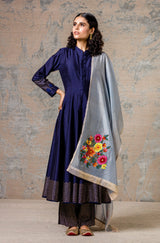 Navy Blue Embroidered Anarkali Set with Pallazo Pants Set