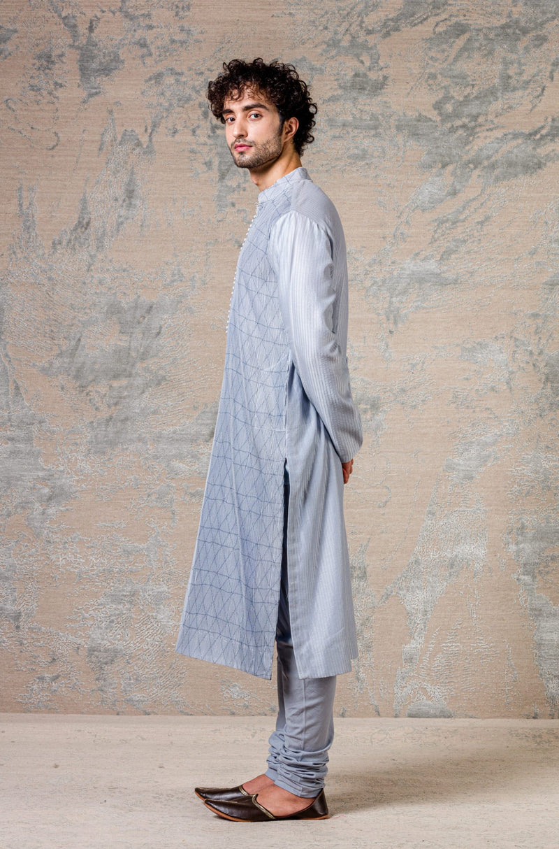 Blue Diamond Pin Tuck Kurta Set