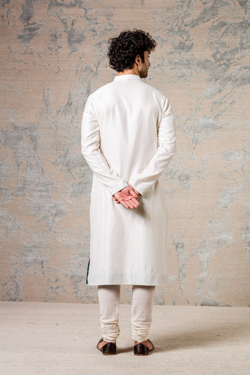 Off White Shell PinTuck Kurta Set