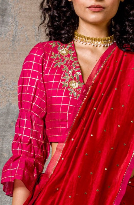 Red Mul-Mukaish Saree