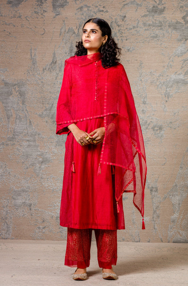 Red Chanderi Kurta Set