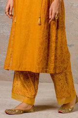 Mustard Chanderi Kurta Set