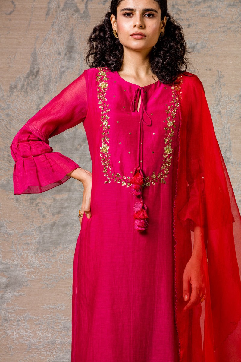 Fuschia Gota Kurta Set