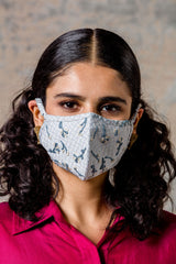 Blue Embroidered Cotton Face Mask
