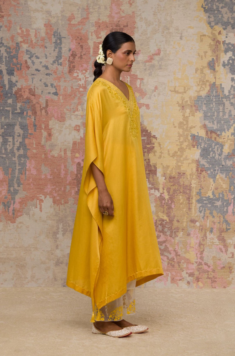 Yellow Hand Block Printed Cotton Silk Blend kurta Set