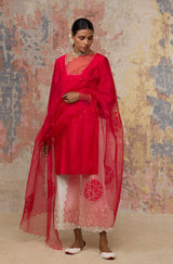Red Mukaish Chanderi Kurta Set