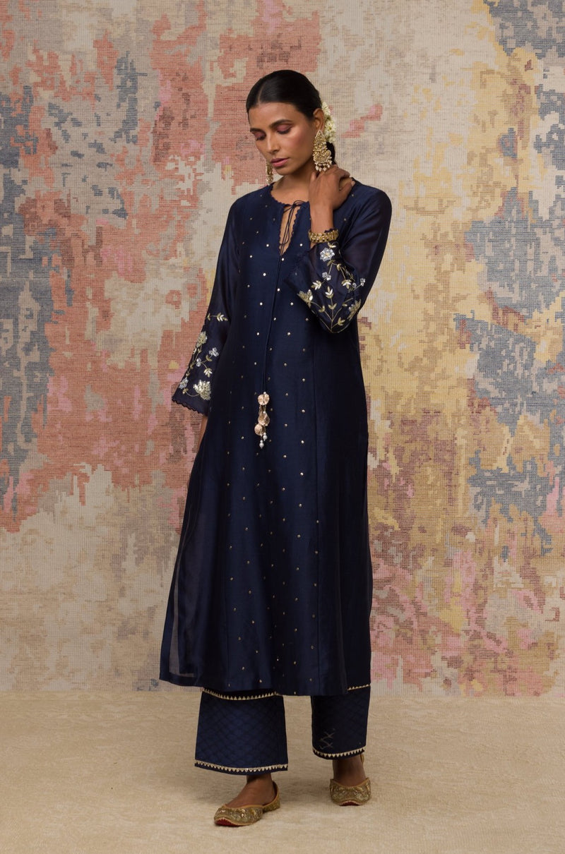 Navy Mukaish Chanderi Kurta Set