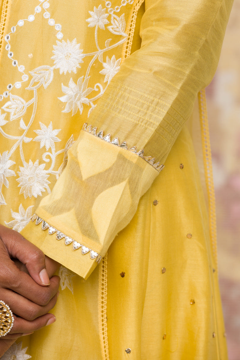 Lemon Yellow Mukaish Anarkali Set
