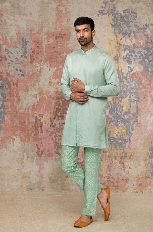 Sea Green Kurta Set With Printed Pants