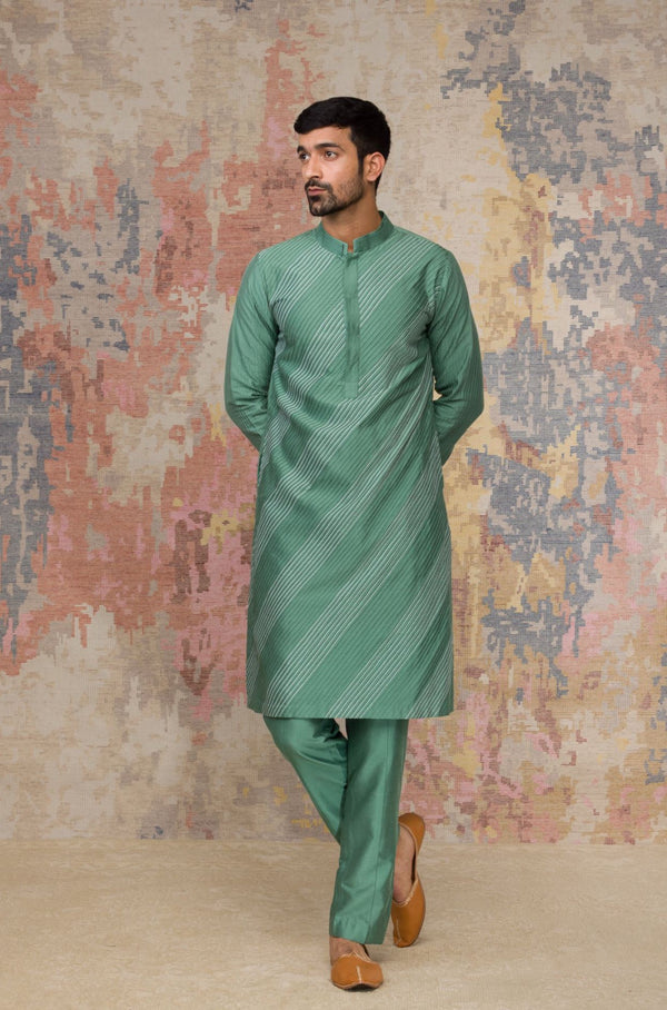 Green Kurta In Cotton Silk Blend Set